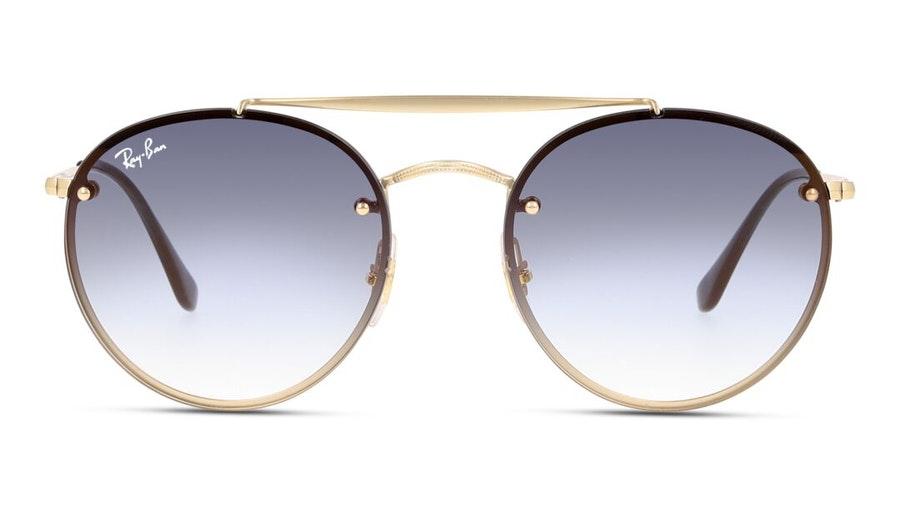 Ray-Ban Blaze Round Doublebridge RB 3614N Unisex Sunglasses Blue/Gold