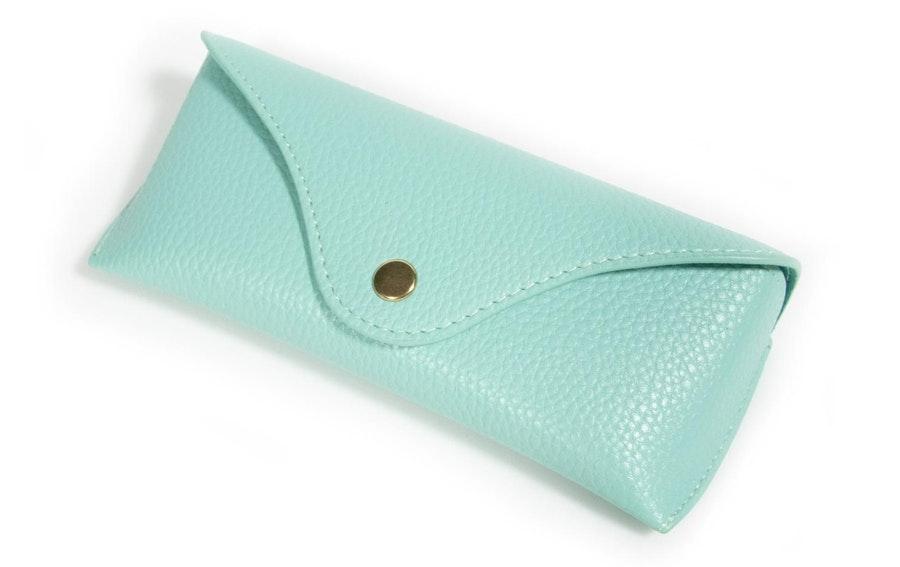 Glasses Case Classic Vegan Leather Envelope Case -  Mint Mint