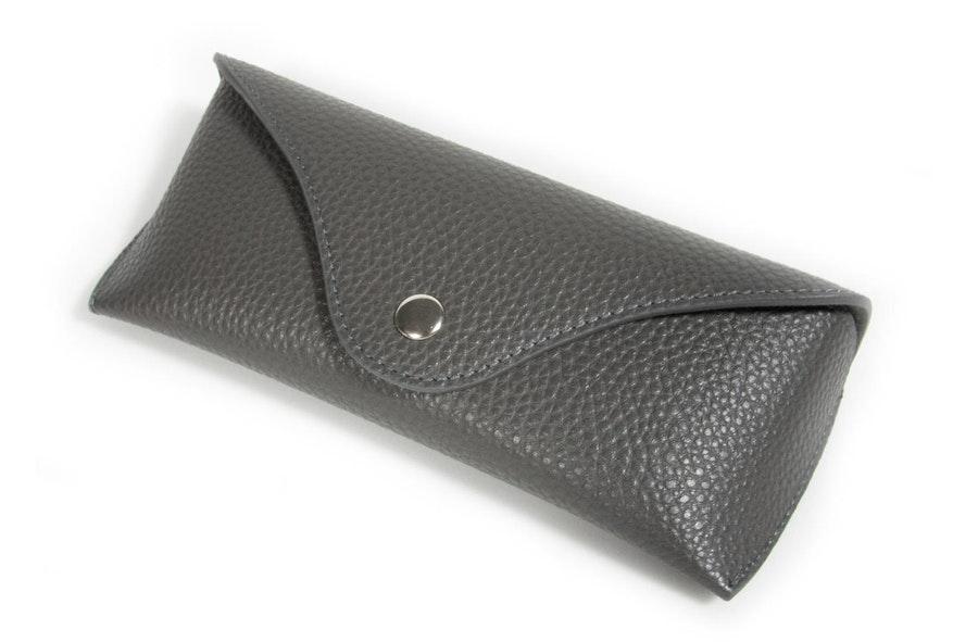 Glasses Case Classic Vegan Leather Envelope Case -  Charcoal Charcoal
