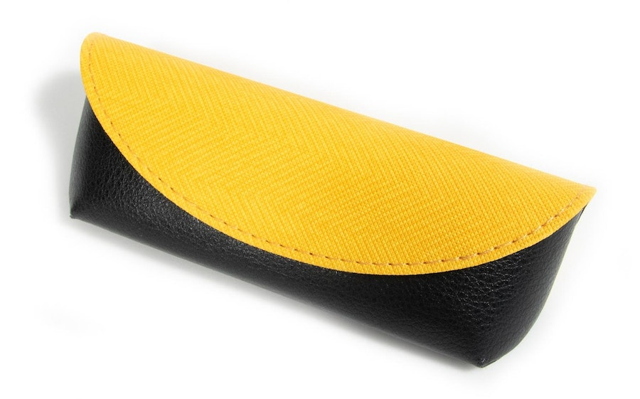 Glasses Case Textile and Vegan Leather Envelope Case -  Yellow Yellow