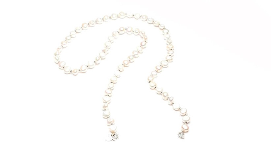 CotiVision Elements Pearls Glasses Chain Classic White