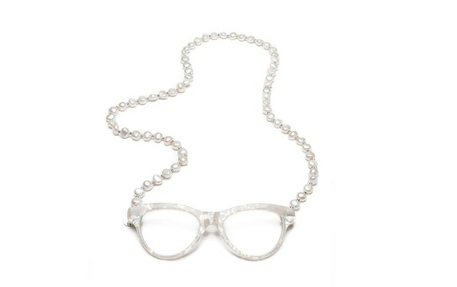 CotiVision Elements Pearls - Classic White Necklace Reading Glasses White +1.50