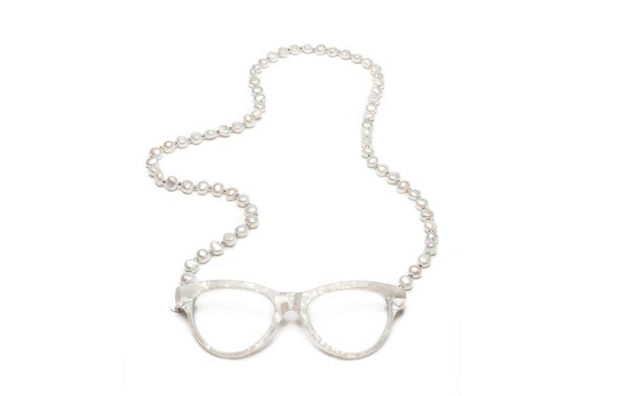CotiVision Elements Pearls - Classic White Necklace Reading Glasses White +2.00