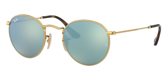 Round RB 3447 Unisex Sunglasses Silver / Gold