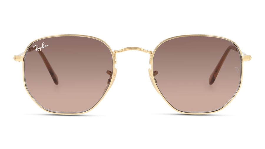 Ray-Ban Hexagonal RB 3548N Unisex Sunglasses Brown/Gold