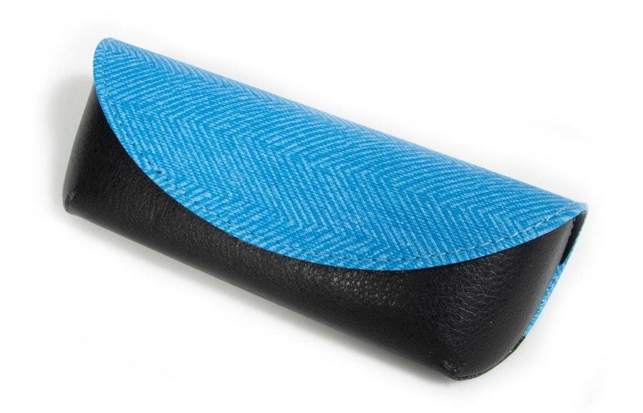 Glasses Case Textile and Vegan Leather Envelope Case -  Blue Blue