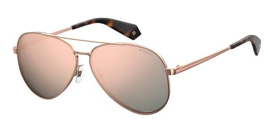 Mirrored Aviator PLD 6069/S Women's Sunglasses Pink / Rose Gold