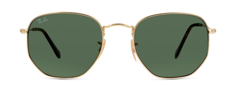 Ray-Ban Hexagonal RB 3548N Unisex Sunglasses Green / Gold