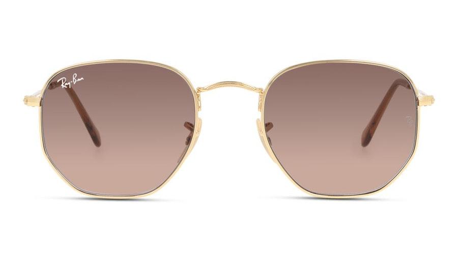 Ray-Ban Hexagonal RB 3548N Unisex Sunglasses Brown/Gold