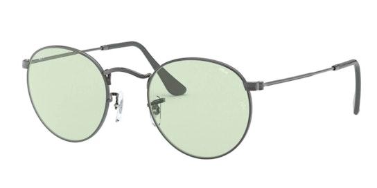 Round Metal RB 3447 (004/T1) Sunglasses Green / Grey